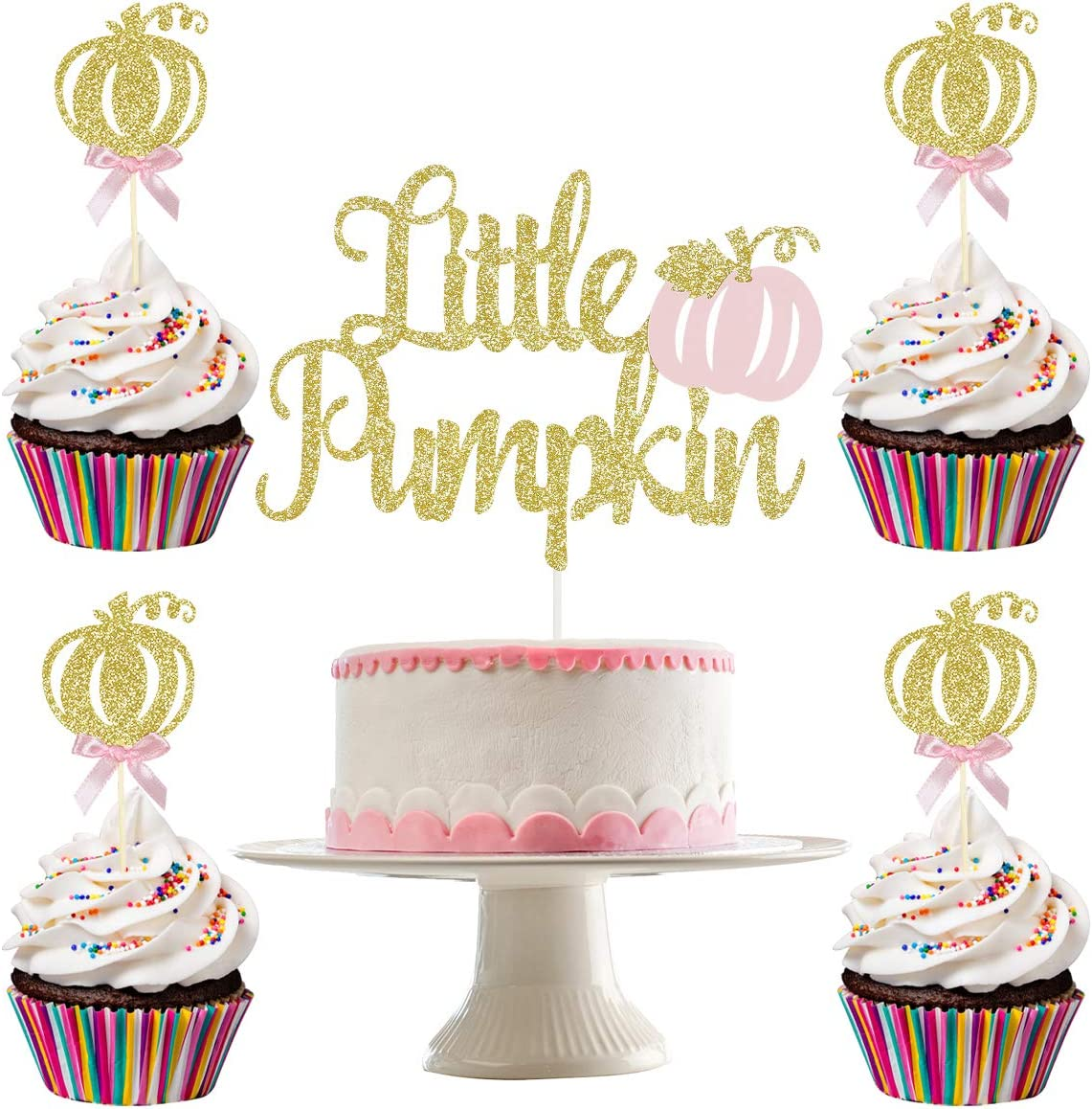 Gold Glittery Pink Little Pumpkin Cake Topper and 24Pcs Glittery Pumpkin Cupcake Topper- Fall Pumpkin Baby Shower Decor,Pink Girl Fall Baby Shower Birthday Party Decorations Supplies