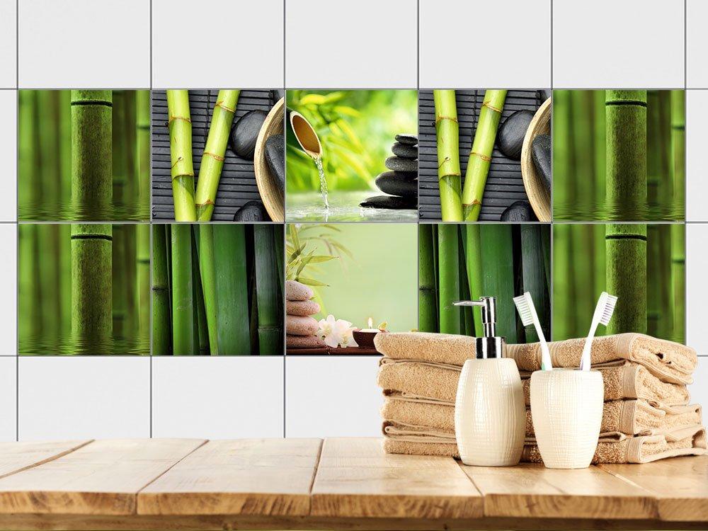 GRAZDesign 770356_20x20_FS10st Fliesenaufkleber Bad Bad Bad Motiv - Wellness mit Bambus -Grün   Fliesen mit Fliesenbildern überkleben   10 Motive   selbstklebende Folie für Badezimmer oder Kosmetik-Studio (20x20cm    Set 10 Stück) B06XHH1JY3 F 25a951