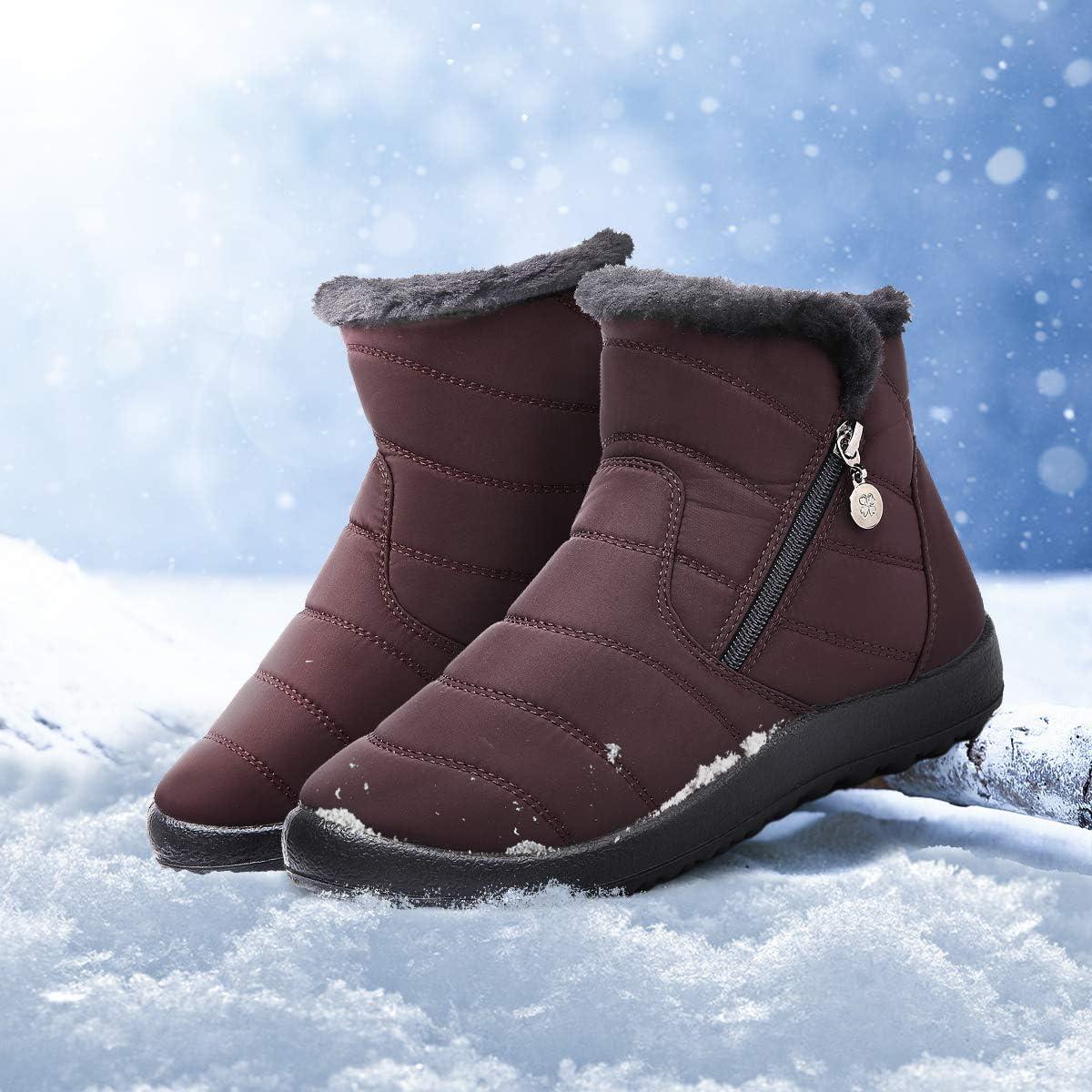Bottines de Pluie Imperm/éable Fourrure Chaude Boots Hiver Fourr/ée /à Talons Plats Chaussures Ville Confortable Apr/ès Ski Gracosy Bottes de Neige Femme Fille