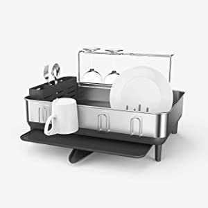 simplehuman Kitchen Dish Drying Rack with Swivel Spout, Fingerprint-Proof Stainless Steel Frame, 2021 Model, Grey Plastic