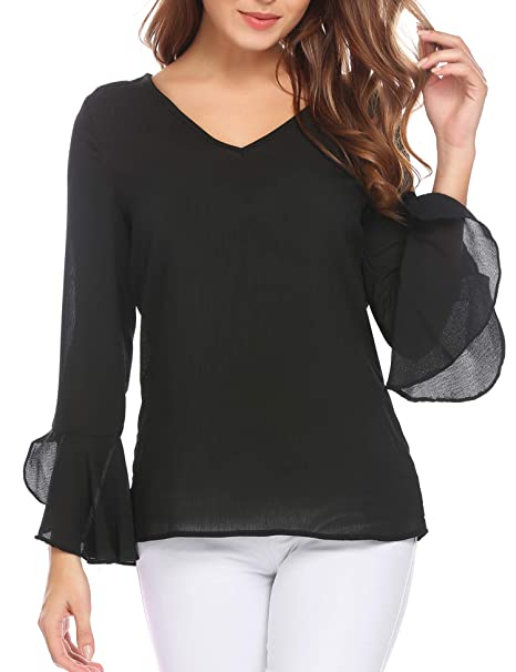 af5a0359fd8 SummerRio Women s Long Sleeve V Neck Bell Sleeve Dressy Blouse Tops Black S