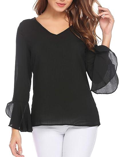 Summerrio Women S Long Sleeve V Neck Bell Sleeve Dressy Blouse Tops