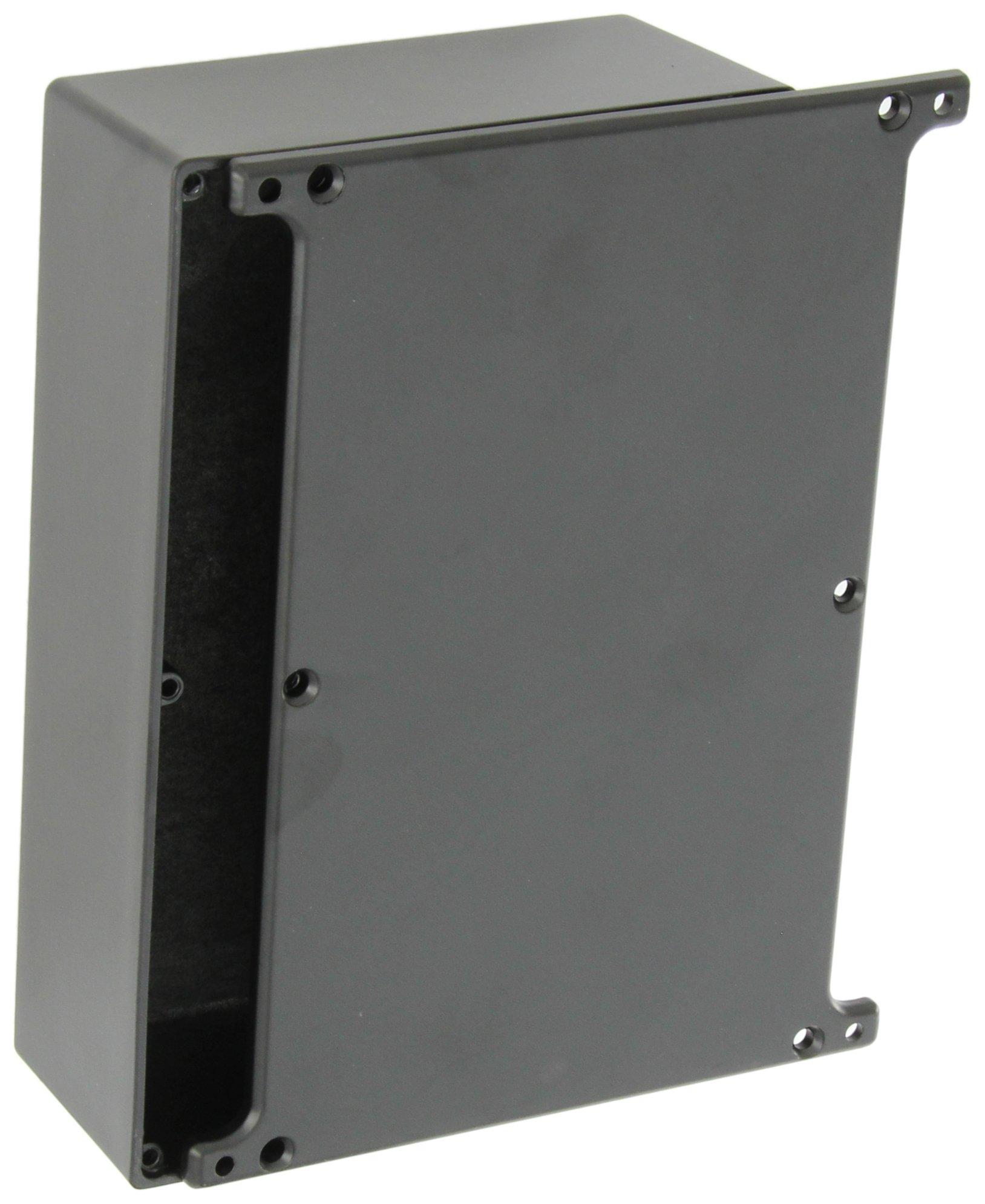 BUD Industries CU-5247-B Die Cast Aluminum Econobox with Mounting Bracket Cover, 7-3/8'' Length x 4-11/16'' Width x 2-13/64'' Height, Black Powdercoat Finish
