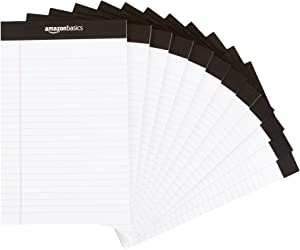 AmazonBasics Narrow Ruled 5 x 8-Inch Writing Pad - White (50 Sheet Paper Pads, 12 pack)
