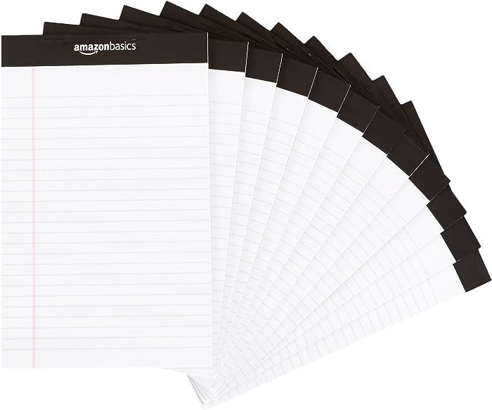 AmazonBasics Narrow Ruled 5 x 8-Inch Writing Pad - White (50 Sheet Paper Pads, 12 pack)