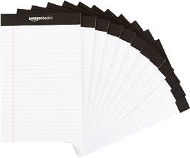 AmazonBasics Papel tamaño legal con renglones, 50 hojas por bloc, blanco, 12.7 cm x 20.3 cm