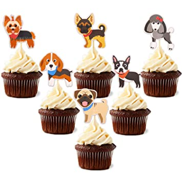 Puppy Cupcake Toppers Dog Adoption Pet Birthday Party Cake