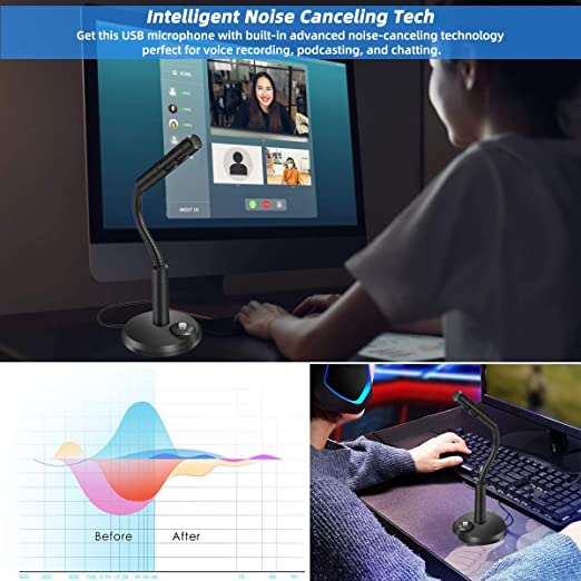 Omnidirectional PC Microphone Compatible with PC//Desktop//Laptop//Notebook,Recording for YouTube,Podcasting,Gaming Replitel Computer Microphone Black 3.5mm Plug Play Mic for Computer
