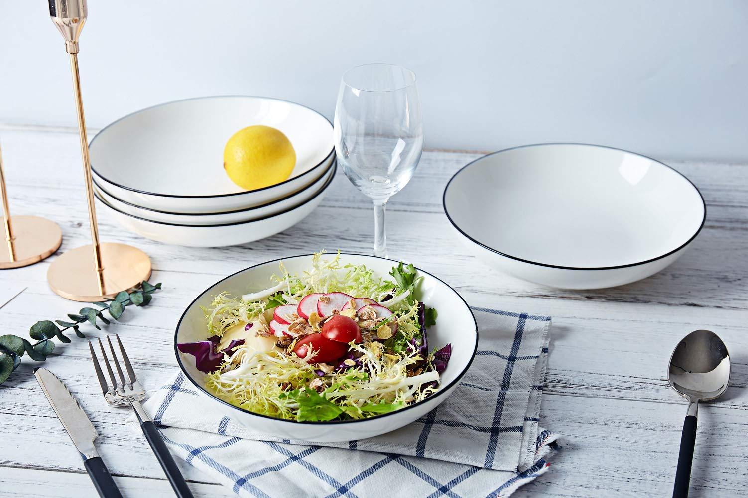 AnBnCn Porcelain Pasta/Salad Bowls - 25 Ounce - Set of 6, White