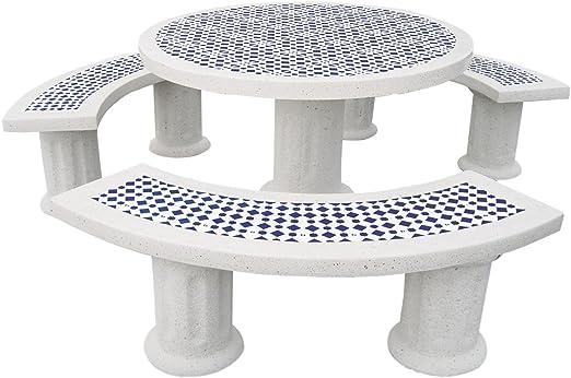 Conjunto Mesa Comedor Redonda DE Jardin Piedra Artificial con ...