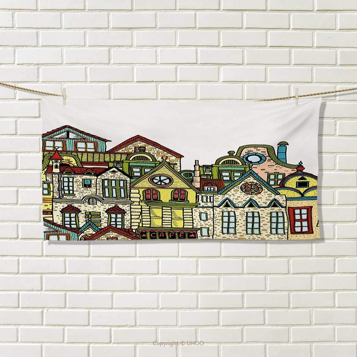 Cityscape,Hand Towel,Old Town Retro Art with Colorful Apartments Building Windows Balconies Chimneys,Quick-Dry Towels,Green Beige Size: W 20'' x L 20''
