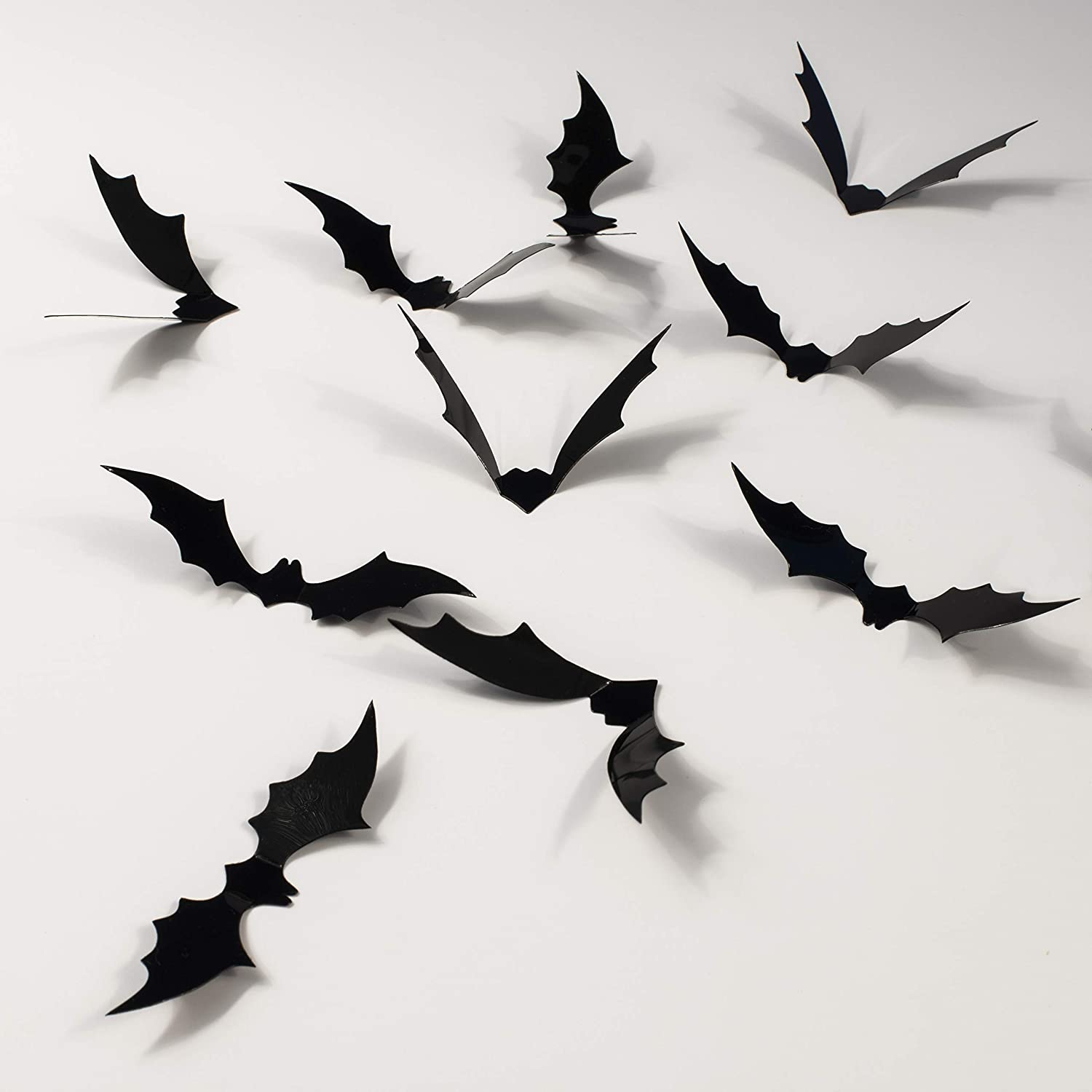 Whaline 72 Pack Halloween 3D Bats Stickers Plastic Wall Bat Decals for Home Window Decor Party Supplies Black