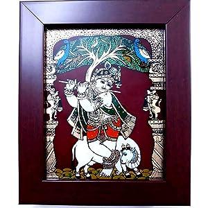 Vaiba Ganesha Glass Tanjore Painting