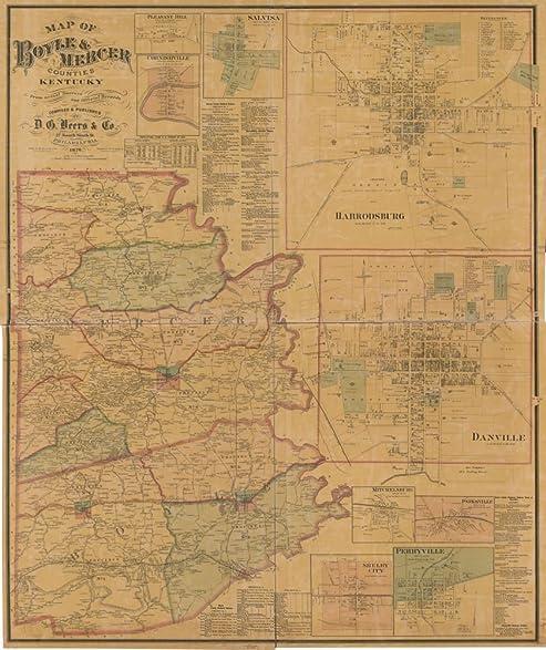 Amazon.com: Vintage 1876 Map of Boyle & Mercer counties, Kentucky ...