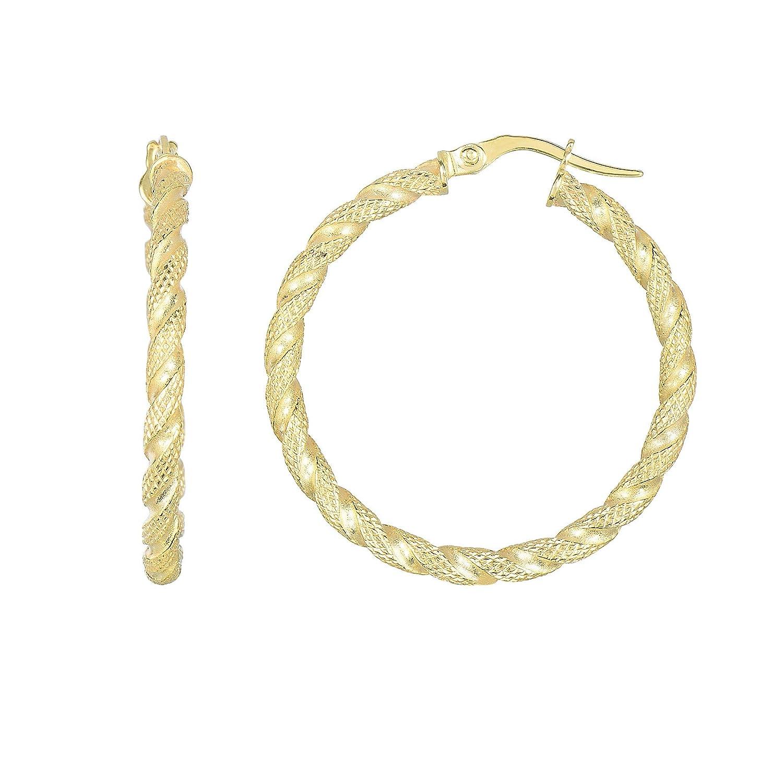 14K Yellow Gold 30x2.5mm Matt Textured Rope Style Round Tube Round Hoop Earrings Hinge by IcedTime