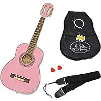 ts-ideen - Guitarra acústica infantil (1/4, para niños de 4 a 7 años, incluye set de accesorios: funda acolchada, correa, cuerdas y silbato afinador), color rosa