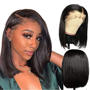 Amazon Com Human Hair Wigs Natural Black Straight Side Part Hand Tied Lace Front Wigs Pre Plucked 150 Density Bleached Knots Remy 13x6 Short Bob Wig Adjustable Cap 8 Inch Beauty