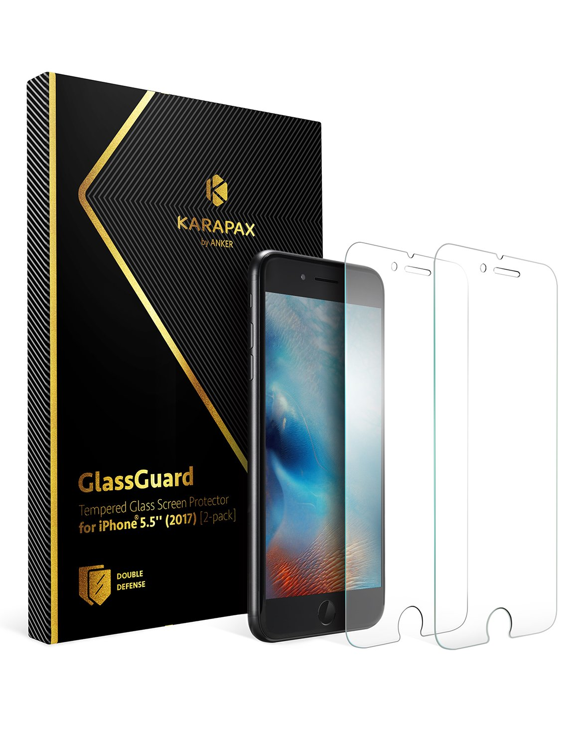 GlassGuard for iPhone 8 Plus / iPhone 7 Plus [2 PACK]