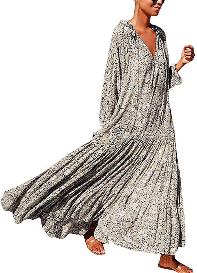 Damen 3//4 Arm O Neck Kleid Maxikleid Lange Elegant Party Plus Linen Abendkleid