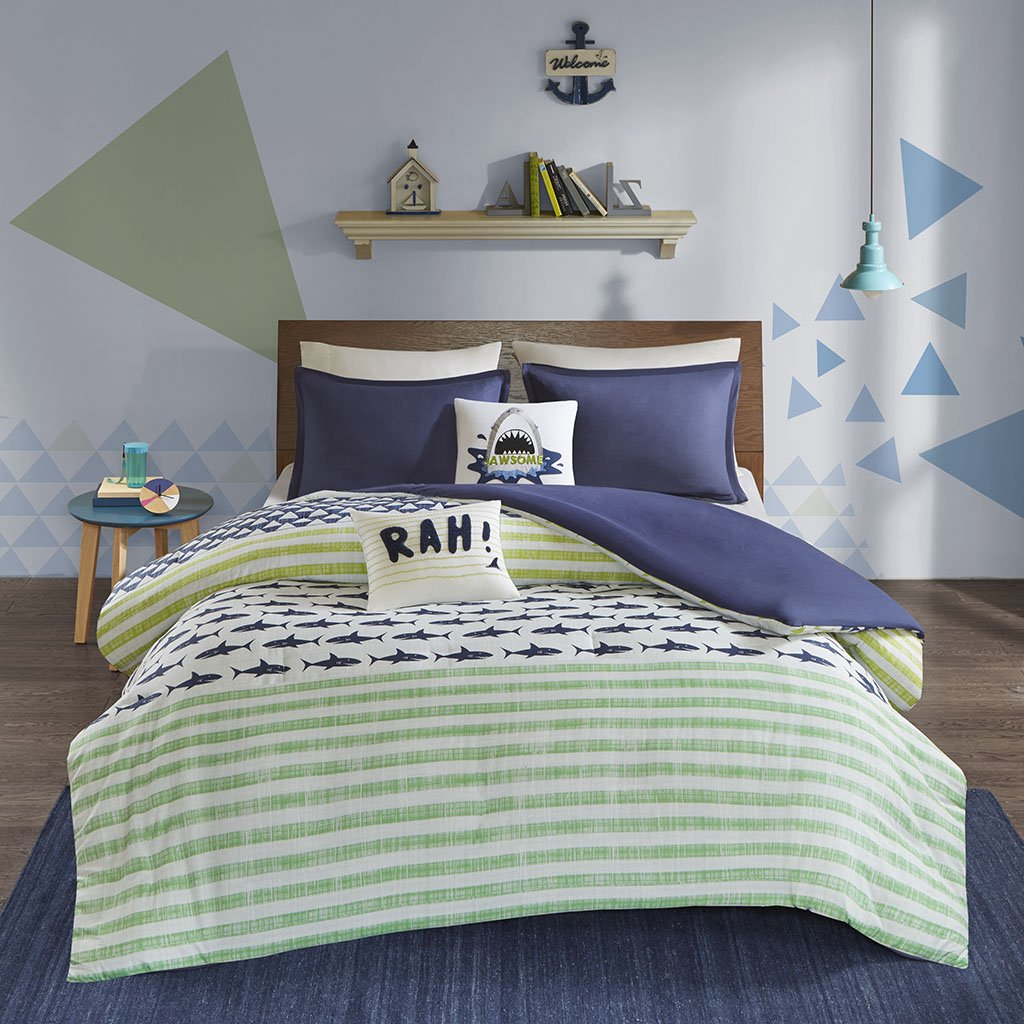 Urban Habitat Kids Finn Twin/Twin Xl Duvet Cover Set Kids Boy - Green, Navy , Shark Stripe – 4 Piece Bed Set Cover – 100% Cotton Kid Boys Bedding Set
