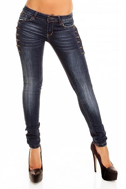 Laulia Mujer Stretch Jeans con Botones Lateral Vaquero 38 ...