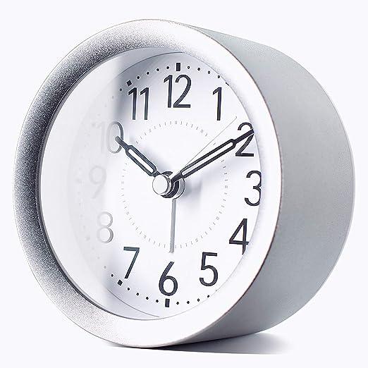 Gentle Wake Peakeep 4 inch Round Silent Analog Alarm Clock Non Ticking Beep