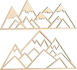 Mountain Wall Art Decor Wood Sign, 2 Pack Unfinished Wood Ornament Rustic Farmhouse Woodland Theme Decoration for Home Office Christmas
