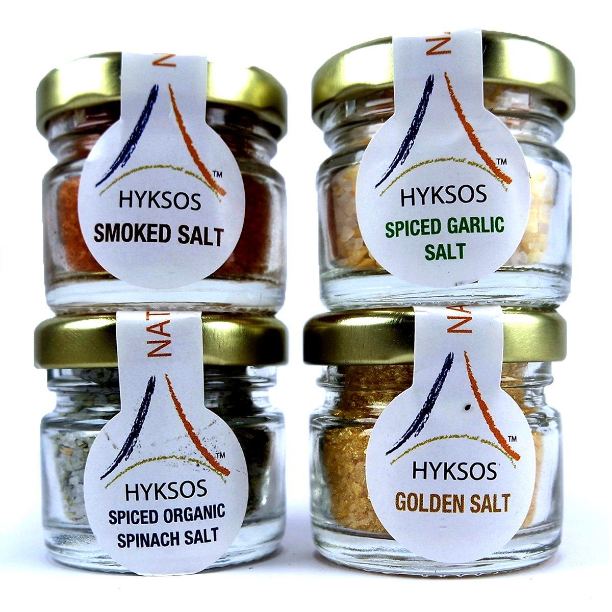 Hyksos Dead Sea Edible Flavored Coarse Salt Set – Smoked Salt & Spiced Garlic Salt & Spiced Organic Spinach Salt & Golden Salt 1.2oz x 4 Jars