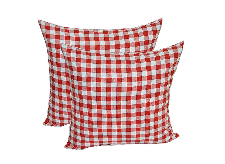 2のセット – インドアコットン正方形装飾スロー/トス枕 – Red Plaid /国Checkered / Checkerboard – 選択サイズ 22