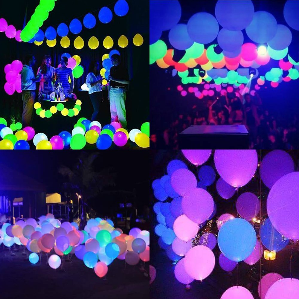 30PCS LED Light up Balloons, Mixed Colors Grow Party Balloon Blinking Light up Balloons Last 8-24 Hours, 2 Modes Perfect for Party,Birthday, Wedding Decoration