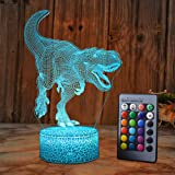 SZLTZK Dinosaur 3D Illusion Lamp for Boy Dinosaur Lamp 16 Colors with Remote Control Smart Touch Night Light Best…