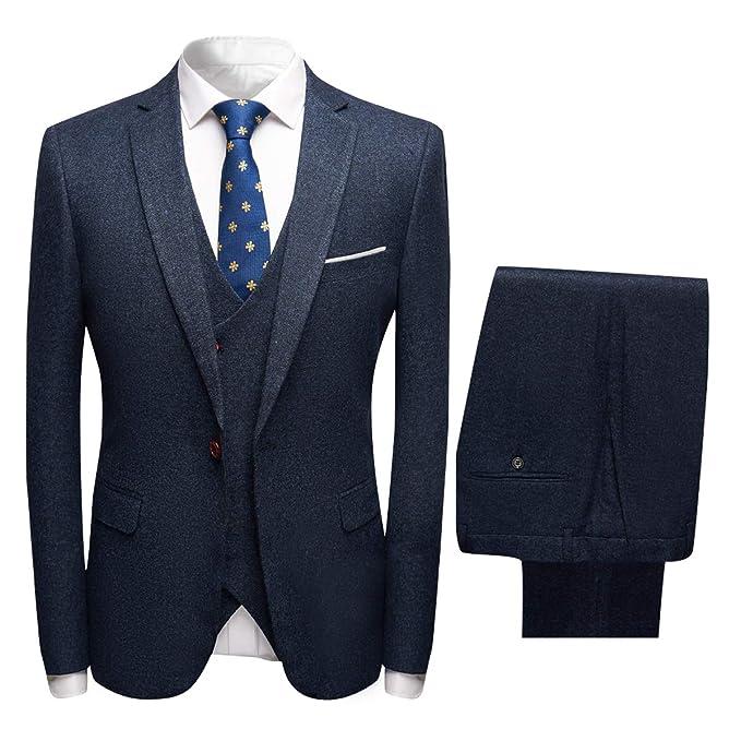 6bf4df9698a9 Herren Anzüge 3 Teilig Regular fit Hochzeit Business Smoking Set Blau  X-Small