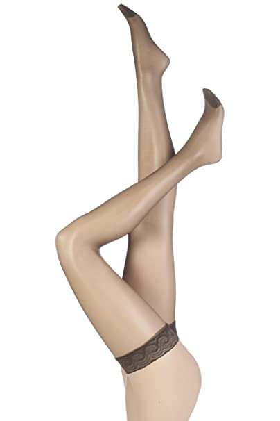 62466aa50b1 Pretty Polly Women s Nylons - 10d Gloss Lace Top Hold Ups Tights   Amazon.co.uk  Clothing