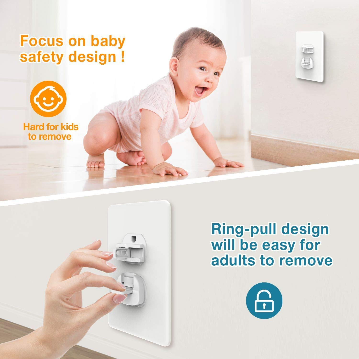 Plug Protector Guards Against Shocks Original Design 2-Prong /& 3-Prong Outlet Covers Child Proof 50 Pack Outlet Covers Baby Proofing with Hidden Ring-Pull Handle Easy Installation