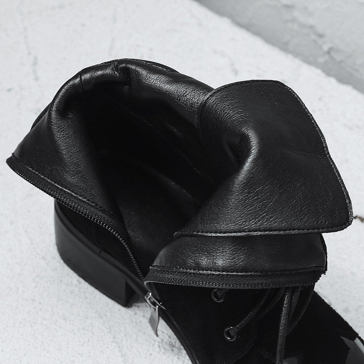 ANNIESHOE ANNIESHOE ANNIESHOE Stiefeletten Damen Wildleder Biker Stiefel Blockabsatz Schwarz 3a163f
