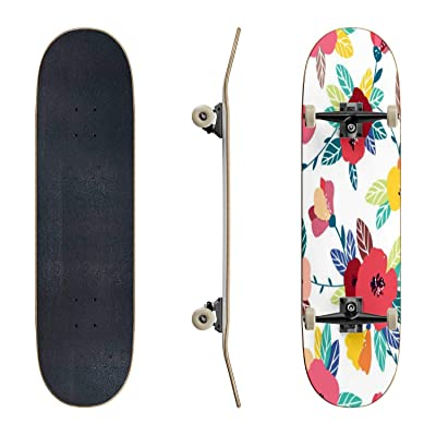 EFTOWEL Skateboards Vintage Flower Seamless Pattern Gentle Spring Background Colorful Classic Concave Skateboard Cool Stuff Teen Gifts Longboard Extreme Sports for Beginners and Professionals : Sports & Outdoors