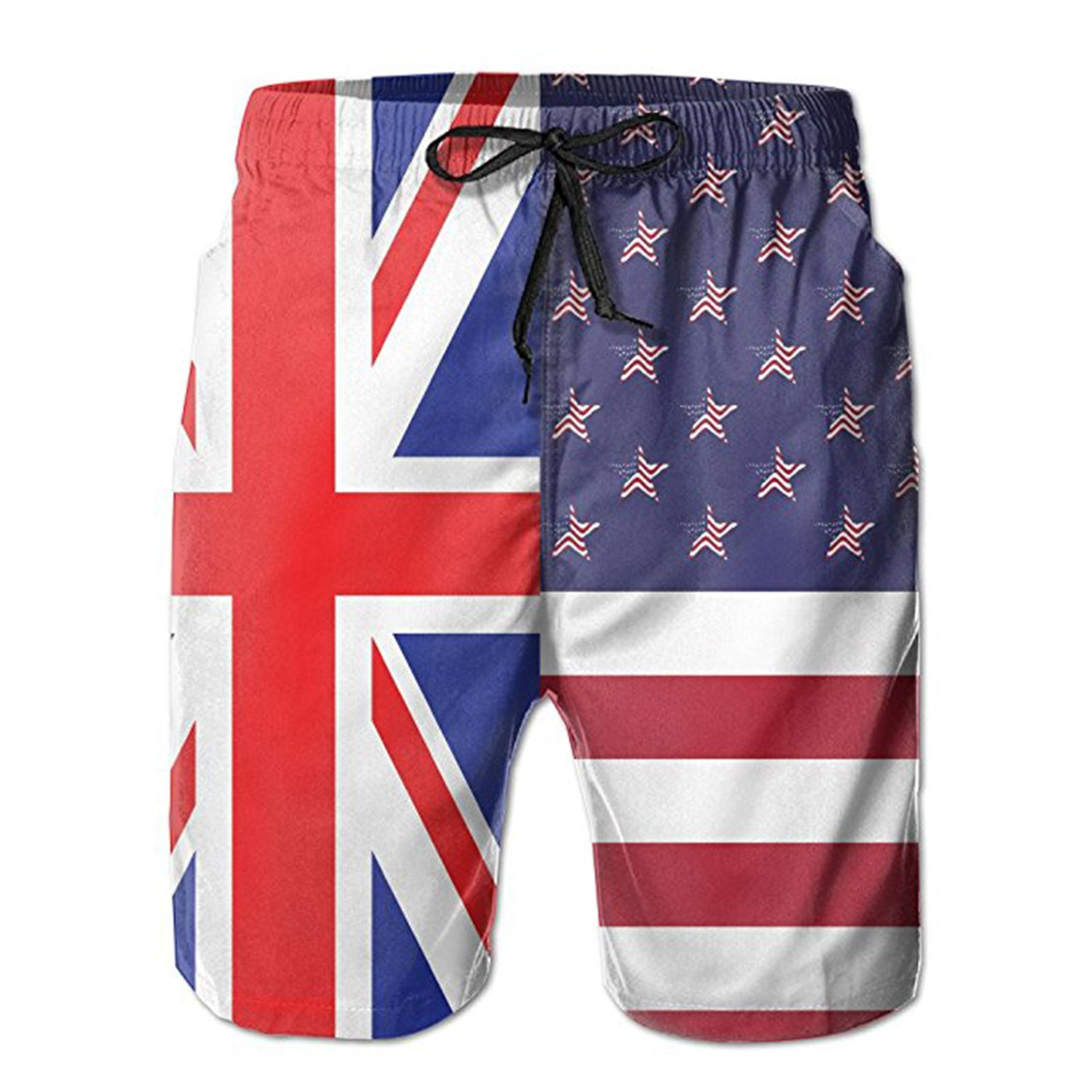 ZMvise British Flag with American Flag Swim Trunks Quick Dry Beach Board Home Water Sports Mens Shorts