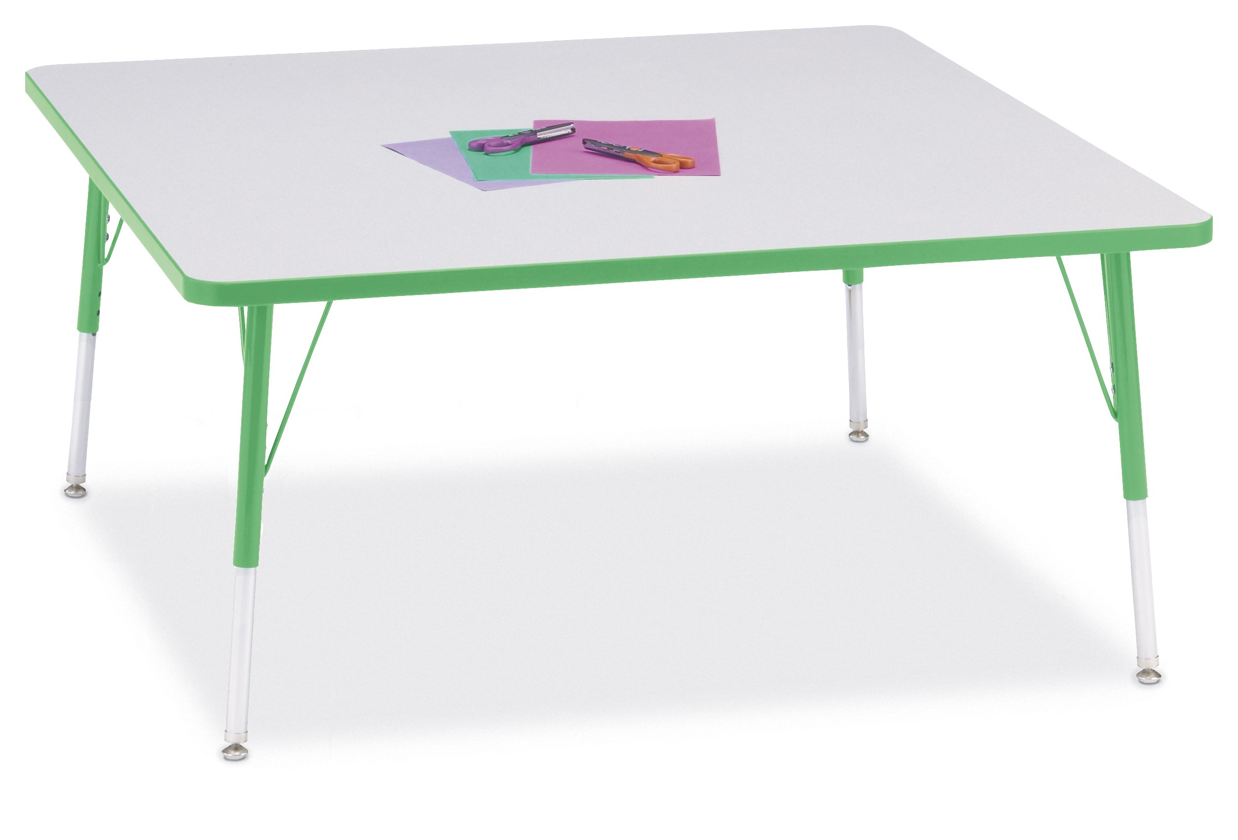 Berries 6418JCA119 Square Activity Table, A-Height, 48'' x 48'', Gray/Green/Green