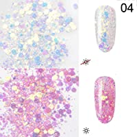 ZHUOTOP 1 Box 3D Color-Change Nail Glitters Nail Art Decorations Holographic Flake Nail Sequins Winter Sticker Manicure Tips 4#