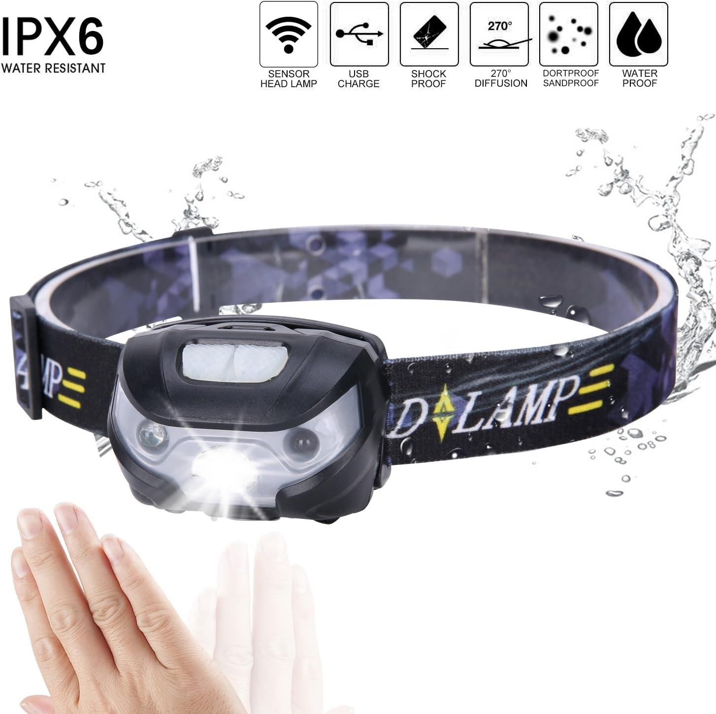 Ultraligero linterna frontal LED Sensor Movimiento batería cabeza ...