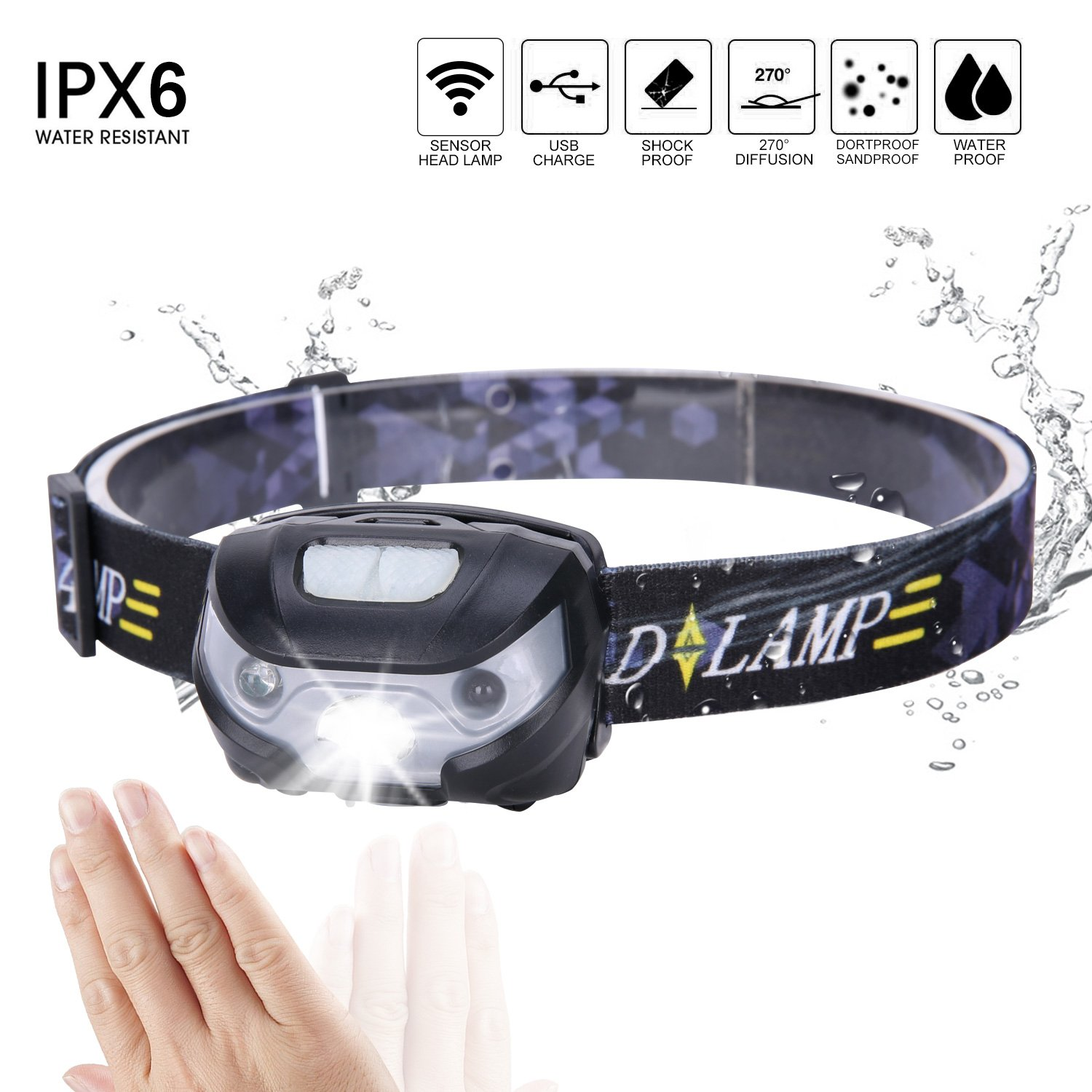 Yiiyaa Ultralight LED Headlamp Sensor Motion USB Ricaricabile IPX6 Head Torch Hand Wave Control Faro per la corsa in bicicletta Camping Hiking Pesca Arrampicata Caccia Reading Solam