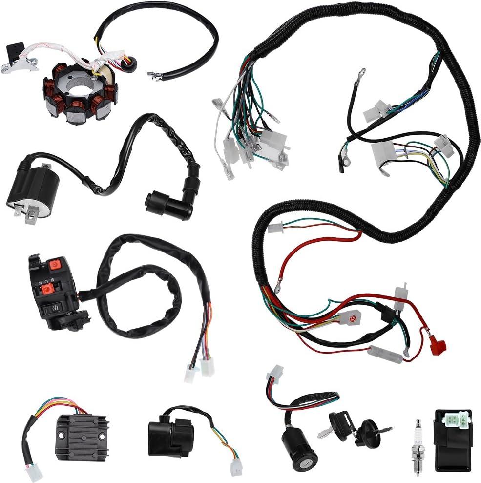 EBTOOLS Electrics Wiring Harness Loom Kit,Electric Wiring Harness Wire Loom CDI Stator Kit for 150CC 200CC 250CC 300CC ATV QUAD