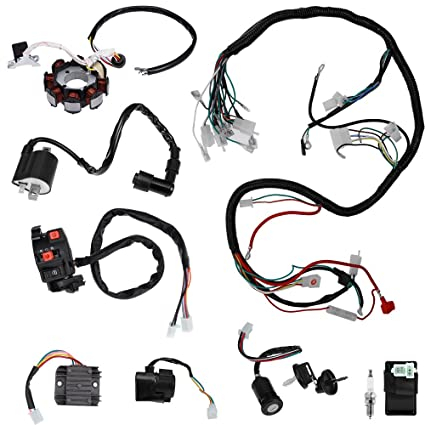 complete electric wiring harness kit wire loom electrics stator coil cdi  for atv quad 4 four