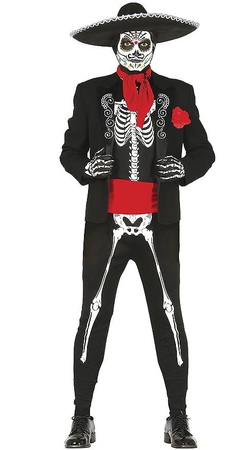 1dad692da7e01 Guirca Disfraz adulto skeleton mejicano Talla 52-54 84297.0  Amazon ...