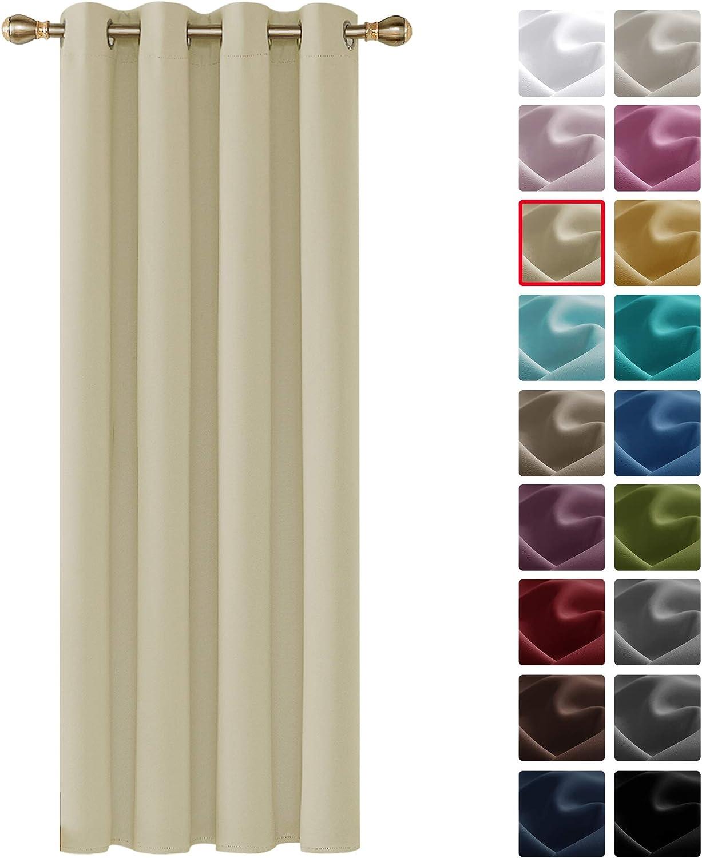 Deconovo Cortinas Salón Opacas Aislantes Térmicas Frío y Calor para Dormitorio Moderno 1 Pieza 140 x 260 cm Beige Oscuro