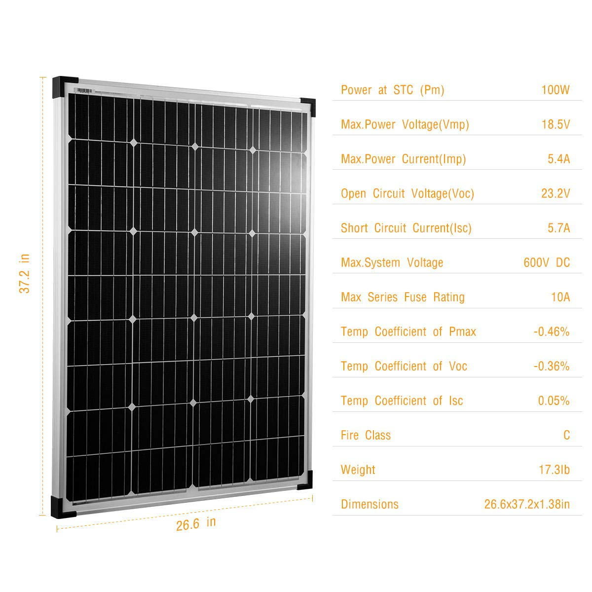 kinverch 100 Watts 12 Volts Monocrystalline Solar Panel for 12 Volt Battery Charging,RV's and Boats by kinverch (Image #2)