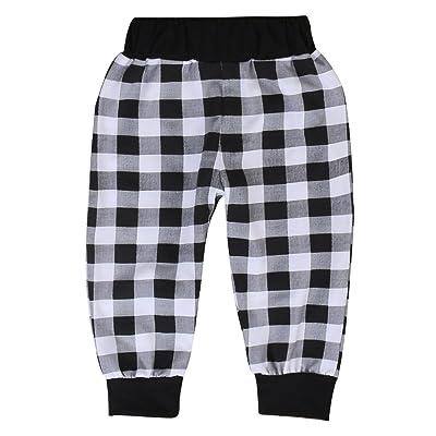 Toddler Boys Girls Cozy PP Pants Kids Plaid Cotton Harem Pants Trousers Outfits