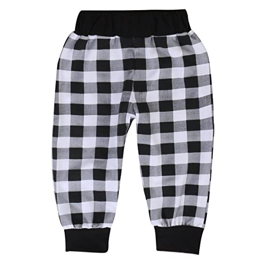 be05c5864 Toddler Boys Girls Cozy PP Pants Kids Plaid Cotton Harem Pants Trousers  Outfits (9-