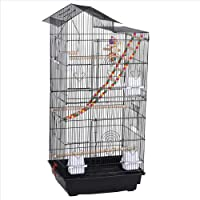 Yaheetech Cage Oiseaux Volière Perroquet 46 x 35,5 x 99 cm avec 2 Jouets, 1 échelle, 4 mangeoires, 3 perchoirs et 1 balançoire