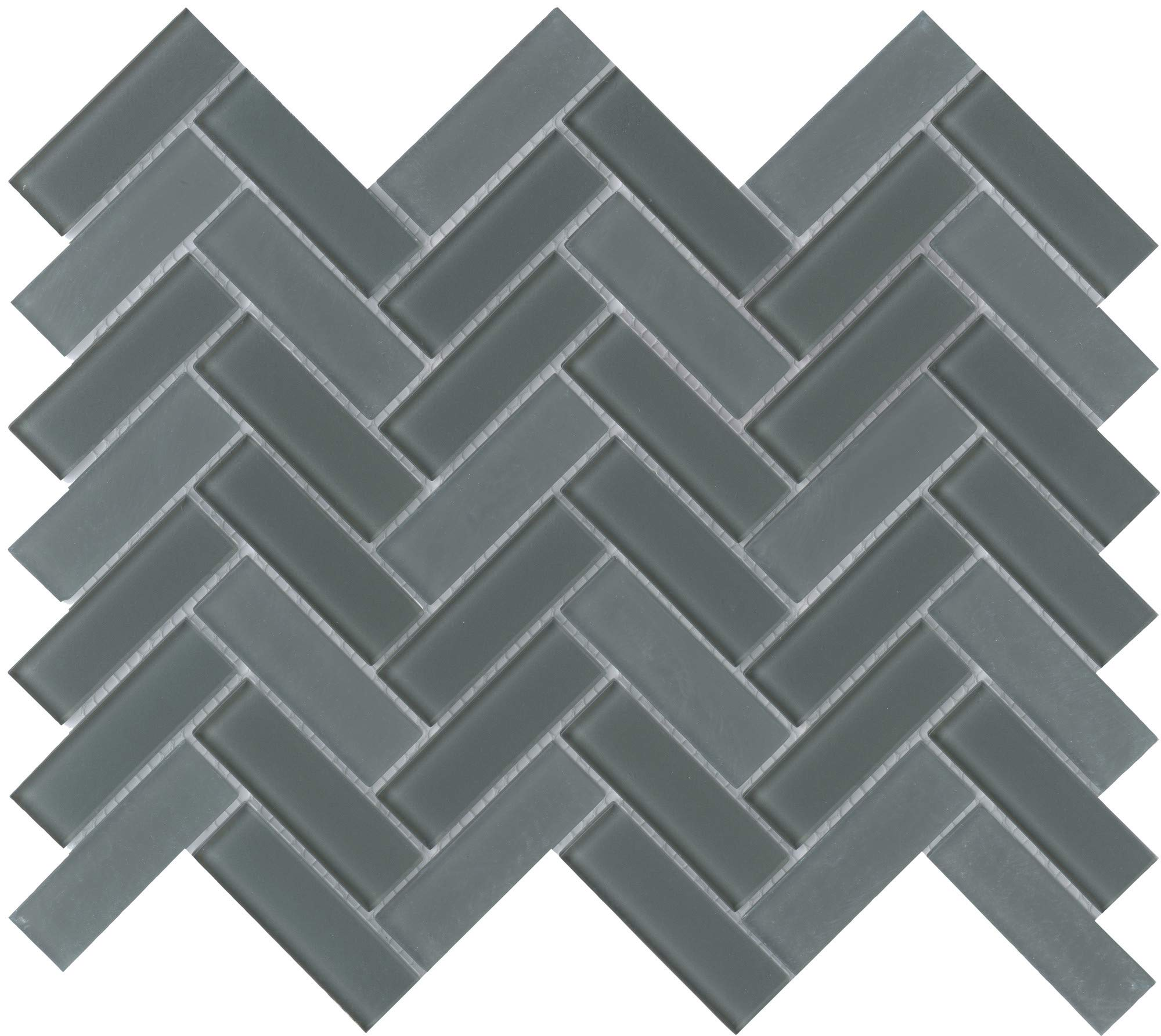 Emser Tile W80CHARWI1013MHB Charisma - 9-11/16'' x 13-1/16'' Herringbone Backsplash Mosaic Tile - Varied Glass Visual